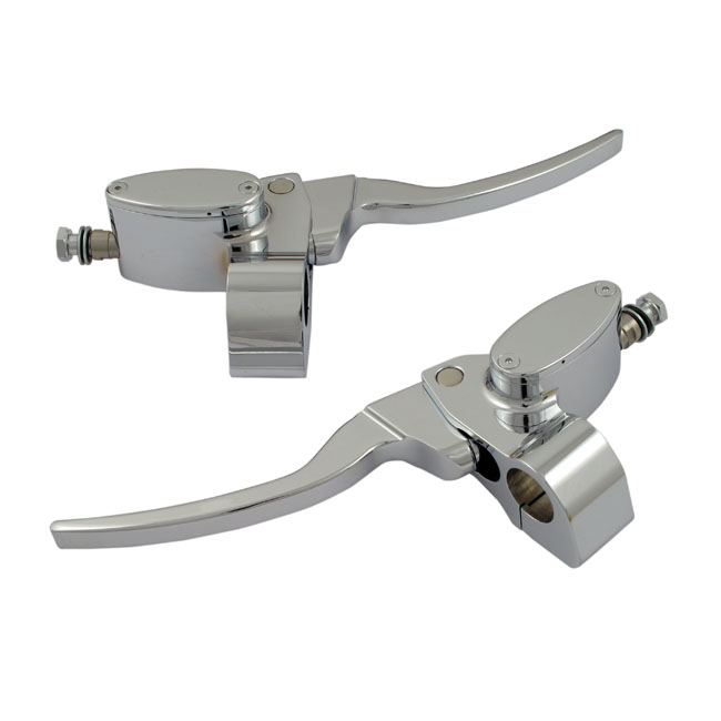 HANDLEBAR MASTER CYLINDER SET POLISHED 25MM