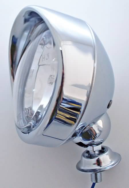 SPOT LIGHT WITH VISOR, CHROME PLATED