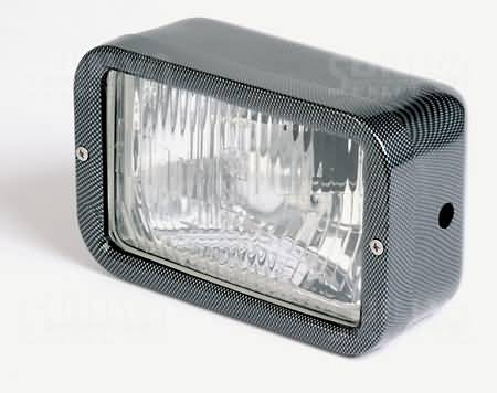 RECTANGULAR HEADLIGHT, CARBON LOOK, SIDE MOUNTING