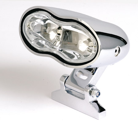 HEADLIGHT DOUBLE OVAL E-MARK WHITE LENS
