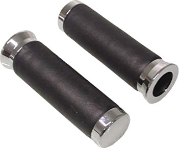 "BLACK LEATHER GRIPS 7/8"""" WITH CHROME CAPS 145MM"